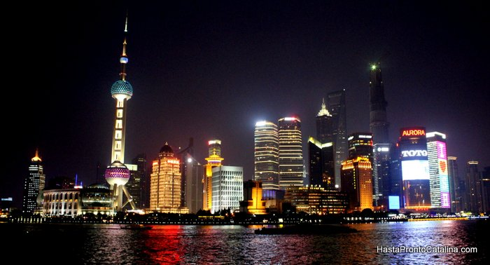 Pudong noche luces Bund Shanghai China