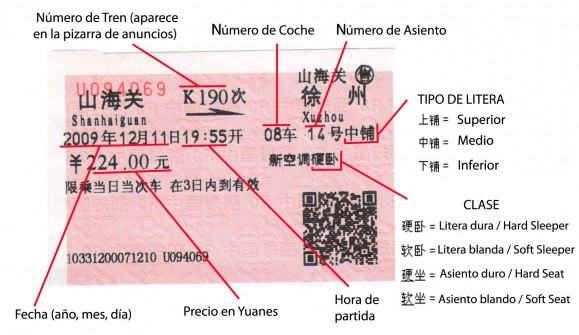 entender un ticket de tren china chino mandarin